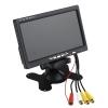 7″ TFT/LED οθόνη Κάλυμμα και στήριγμα κεφαλής οθόνης - και κάμερα οποισθοποριας  σύνδεση ρεύματος από τον αναπτήρα.  Ευρεία TFT οθόνη 16:9 Ανάλυση: 800x480xRGB Σύστημα: PAL & NTSC Εύκολη ρύθμιση φωτινότητας και χρωμάτων Δύο εισόδους/εξόδους Ρεύμα: DC 12V